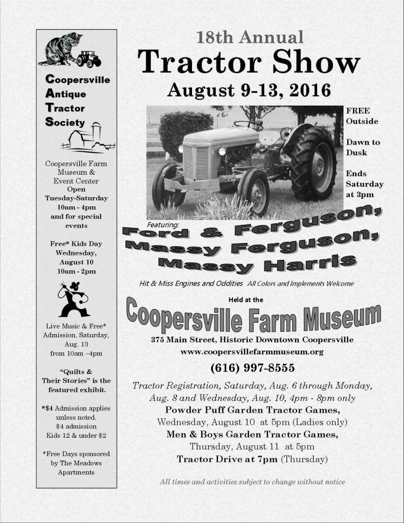 Coopersville Antique Tractor Society - 18th Annual Show @ Coopersville Farm Museum