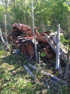 tractor in woods