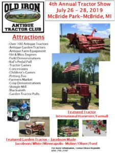MI - 4th Annual Old Iron Antique Tractor Show @ McBride Park