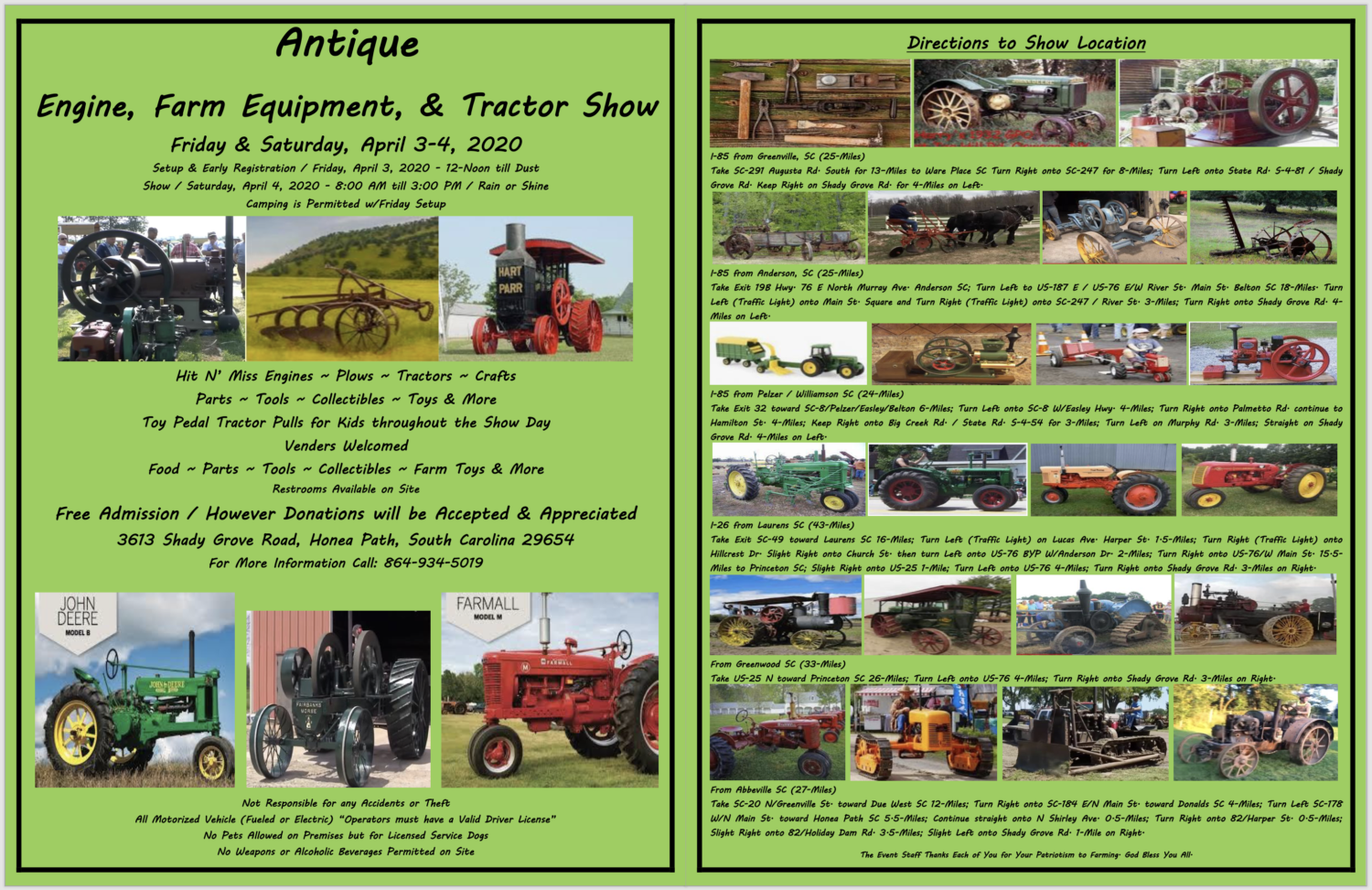 SC - Antique Engine, Farm Equipment & Tractor Show